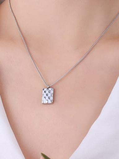 Titanium Steel Enamel Geometric Minimalist Necklace
