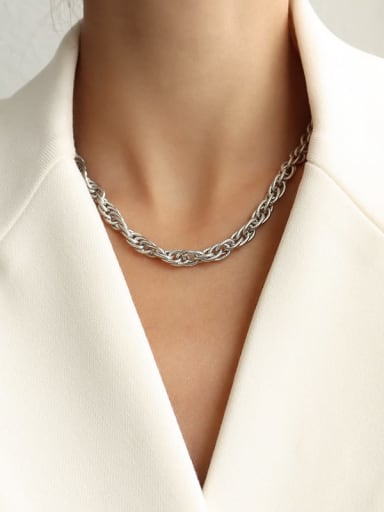 P1006 steel color necklace Titanium Steel Vintage Irregular  Braclete and Necklace Set