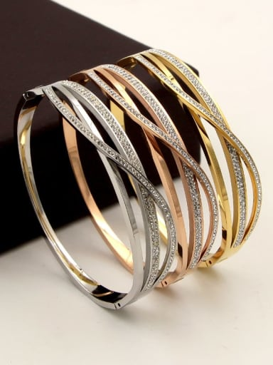 Titanium Cubic Zirconia Geometric Minimalist Band Bangle