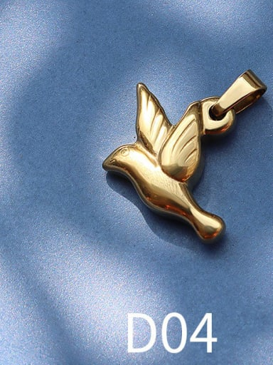 D04 golden bird Titanium Steel Animal  Bird Cute Pendant