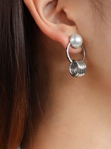 Stainless steel Imitation Pearl Irregular Minimalist Drop Earring with e-coated waterproof