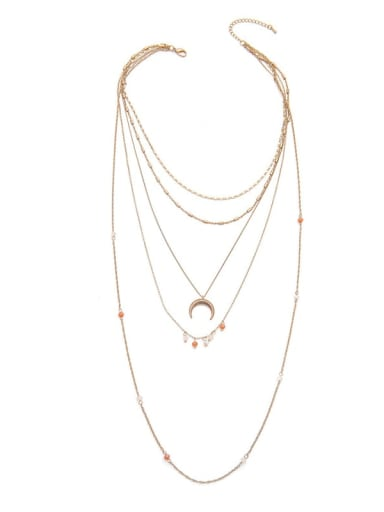 Multilayer Long Crescent Alloy Necklace