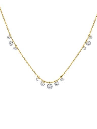 Titanium Steel Rhinestone Geometric Minimalist Necklace