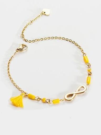 Yellow Stainless steel Bead Tassel Dainty Link Bracelet