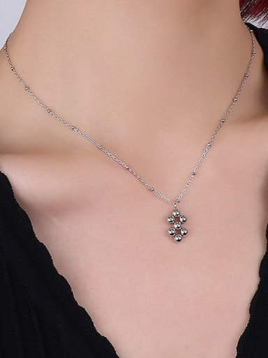 Steel Necklace Titanium Steel Bead Vintage Geometric  Earring and Necklace Set
