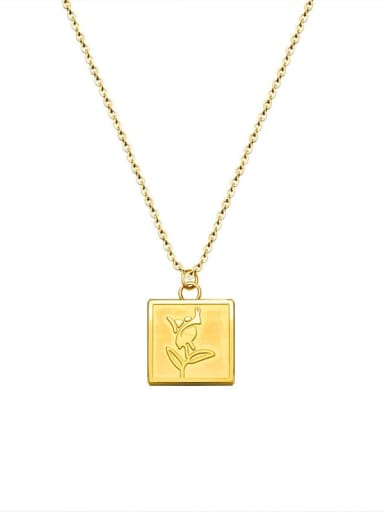 Gold Flower Necklace 40+5cm Stainless steel Flower Minimalist Necklace with e-coated waterproof