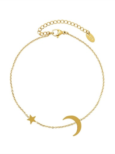 Titanium 316L Stainless Steel Star  Moon Minimalist  Anklet with e-coated waterproof