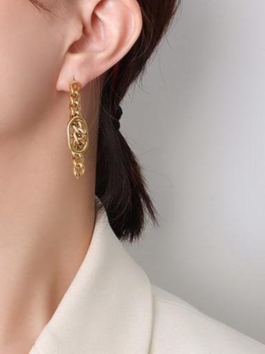 F518 Gold Earrings Titanium Steel Vintage Irregular  Earring And Braclete Set