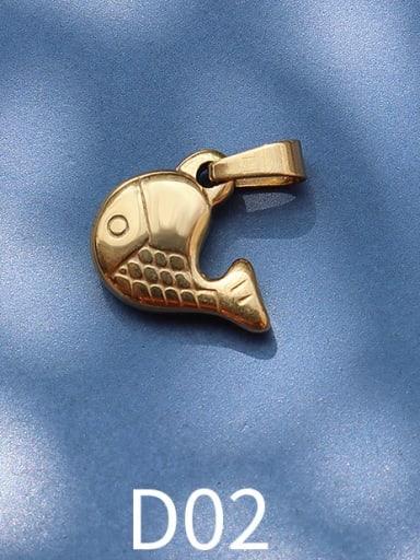 D02 golden whale Titanium Steel Animal  Bird Cute Pendant