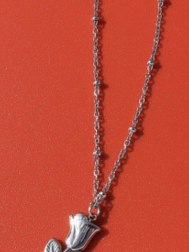 P889 Steel Necklace 40+ 5cm Titanium 316L Stainless Steel Cute Flower  Ring and Necklace Set with e-coated waterproof