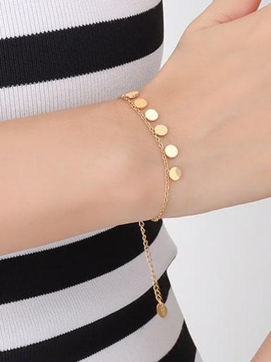 E138 gold bracelet 15+ 5cm Titanium Steel Minimalist Round  Bracelet and Necklace Set