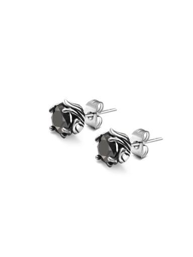 Titanium Steel Cubic Zirconia Geometric Vintage Stud Earring