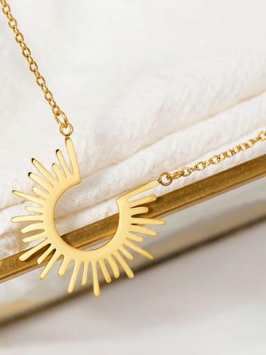 golden European and American style simple sun 18K titanium steel short necklace