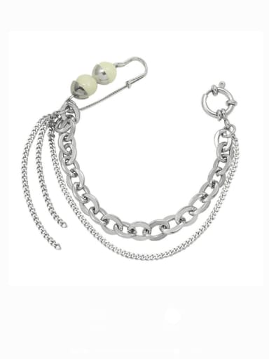 E298 white Seashell 18.5cm Titanium Steel Geometric Minimalist Strand Bracelet
