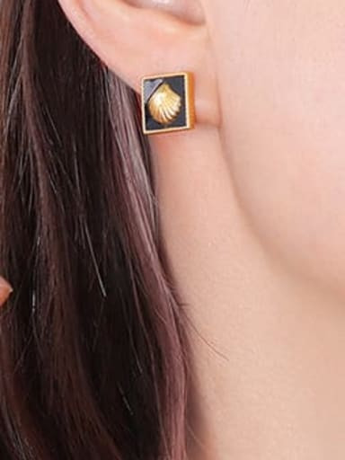 F531 Gold Earrings Titanium Steel Enamel Minimalist Square Earring and Necklace Set