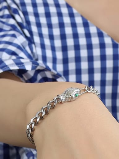 steel  snake Zircon Bracelet 15 +5cm Titanium 316L Stainless Steel Vintage Hollow Geometric Chain  Braclete and Necklace Set with e-coated waterproof