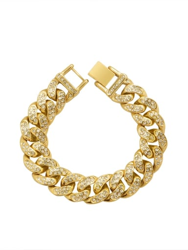 E008 gold bracelet 16cm Titanium Steel Rhinestone Geometric Hip Hop Bracelet
