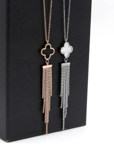Titanium Shell Tassel Dainty Tassel Necklace