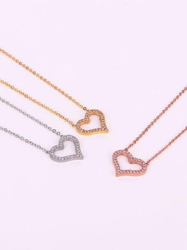 Titanium Cubic Zirconia Heart Dainty Initials Necklace