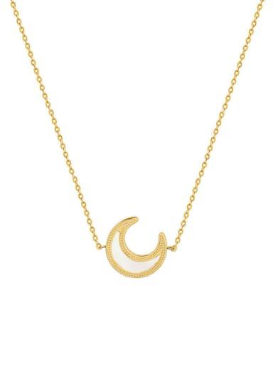 Titanium Steel Minimalist Moon  Shell Earring and Necklace Set