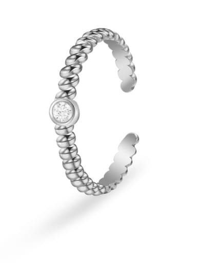 Stainless steel Rhinestone Geometric Minimalist Band Ring