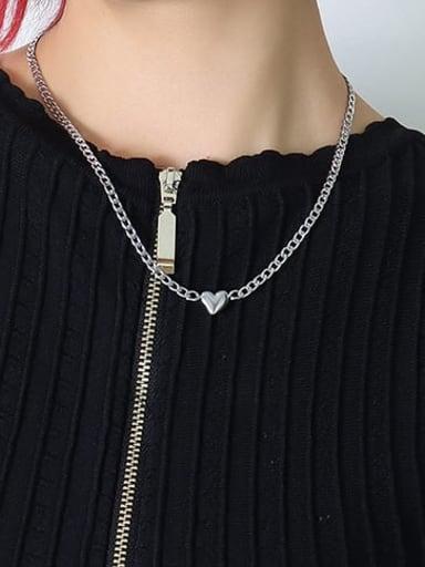 Titanium Steel Heart Minimalist Hollow Chain  Necklace