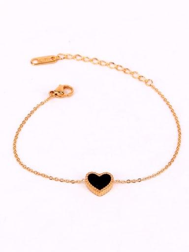 Titanium Enamel Heart Minimalist Link Bracelet