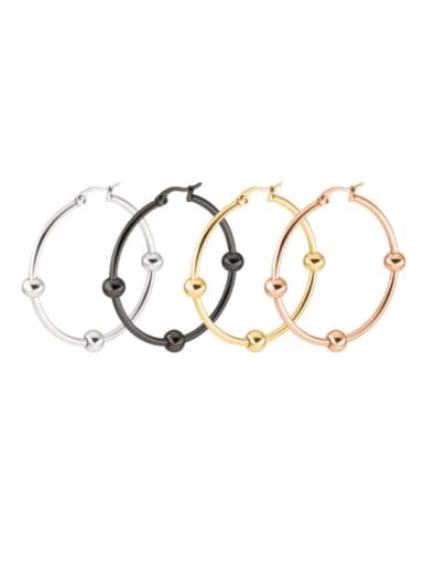 Titanium Steel Bead Round Minimalist Hoop Earring