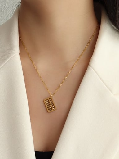 Gold bevel abacus Necklace 40+5cm Titanium Steel Bead Geometric Vintage Necklace