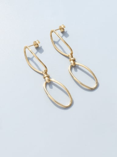 F385 Gold Earrings Titanium 316L Stainless Steel  Minimalist Geometric Earring Braclete and Necklace Set with e-coated waterproof