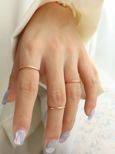 rose gold Titanium 316L Stainless Steel Geometric Minimalist Band Ring with e-coated waterproof
