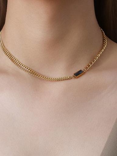 P765 Gold Necklace Black zircon 40+ 5cm Titanium Steel Minimalist Geometric  Glass Stone Braclete and Necklace Set