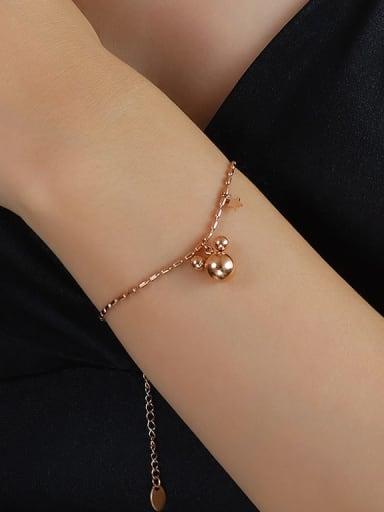 E113 rose gold bracelet 17 +5cm Titanium 316L Stainless Steel Bead Minimalist Irregular  Braclete and Necklace Set with e-coated waterproof