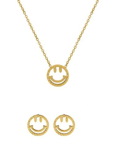 Titanium Steel Minimalist Smiley  Earring Braclete and Necklace Set