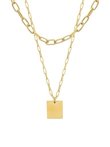 P1128 gold double layer Necklace Titanium Steel Geometric Minimalist Multi Strand Necklace