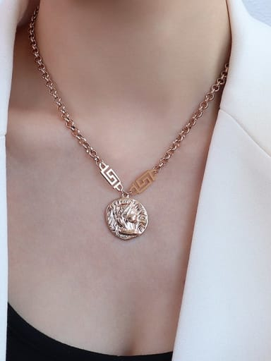 P480 rose gold necklace 40+5cm Titanium 316L Stainless Steel Vintage Irregular  Braclete and Necklace Set with e-coated waterproof