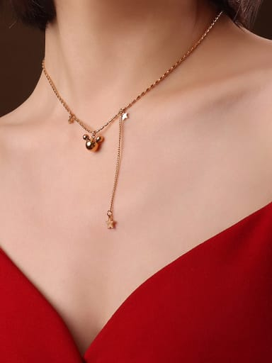 P556 rose gold necklace 40+5cm Titanium 316L Stainless Steel Bead Minimalist Irregular  Braclete and Necklace Set with e-coated waterproof