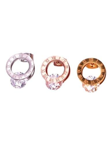 Titanium Steel Cubic Zirconia Number Minimalist Stud Earring