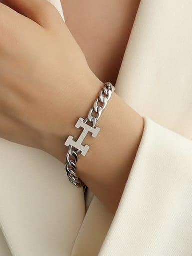 H lettert  steel color Bracelet Titanium Steel Letter Vintage Link Bracelet