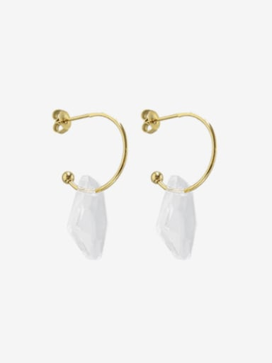 F502  gold Titanium Steel Glass Stone Geometric Hip Hop Huggie Earring