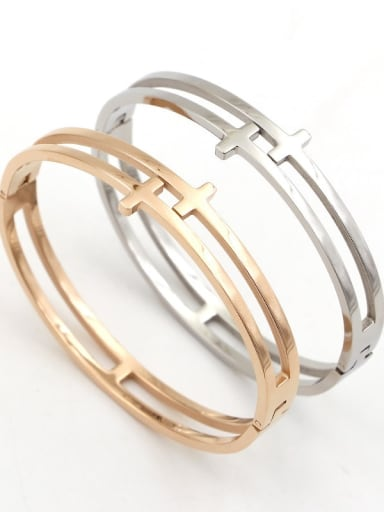 Titanium Cross Dainty Set Bangle