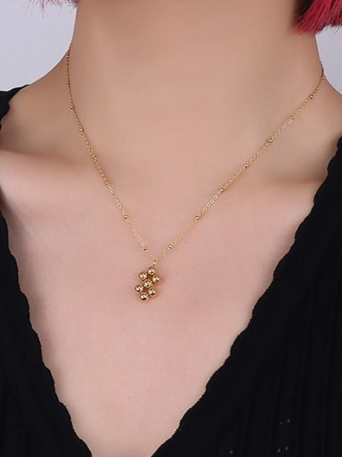 gold necklace Titanium Steel Bead Vintage Geometric  Earring and Necklace Set