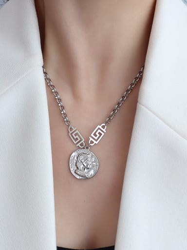 P480 Steel Necklace 40 +5cm Titanium 316L Stainless Steel Vintage Irregular  Braclete and Necklace Set with e-coated waterproof