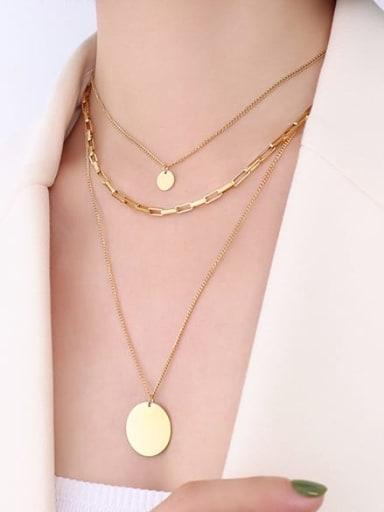 Gold three layer Necklace Titanium Steel Geometric Minimalist Multi Strand Necklace