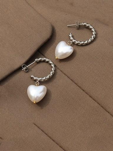 Steel Titanium 316L Stainless Steel Freshwater Pearl Heart Minimalist Drop Earring with e-coated waterproof
