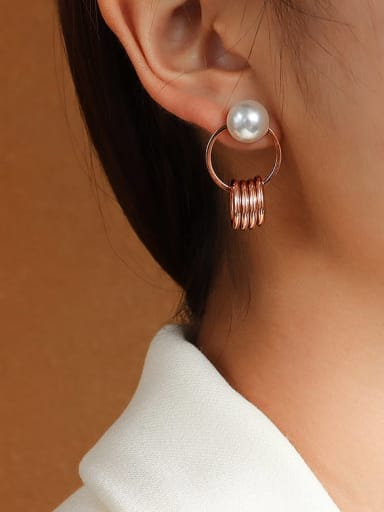 rose gold Stainless steel Imitation Pearl Irregular Minimalist Drop Earring with e-coated waterproof
