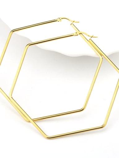 Hexagonal gold Titanium Steel Geometric Minimalist Huggie Earring