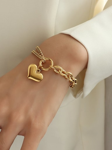 gold Titanium 316L Stainless Steel Heart Vintage Strand Bracelet with e-coated waterproof