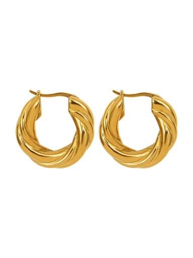 Twist gold Titanium 316L Stainless Steel Geometric Vintage Stud Earring with e-coated waterproof