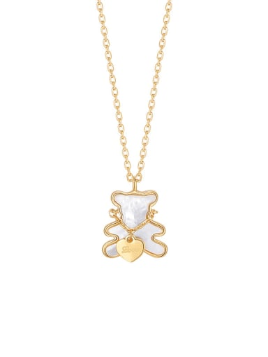Exquisite little bear, sweet girl loves to hug bear, cute white shell, wild clavicle chain